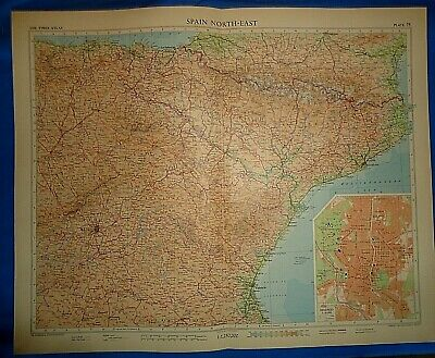 Vintage Circa 1956 NORTH EAST SPAIN MAP Old Original Folio Size Free S&H