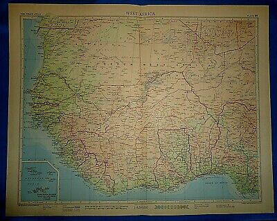 Vintage Circa 1956 WEST AFRICA MAP Old Original Folio Size Free S&H