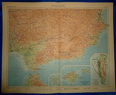 Vintage Circa 1956 SOUTH SPAIN MAP Old Original Folio Size Atlas Map Free S&H