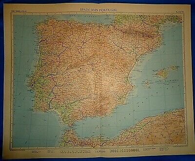 Vintage Circa 1956 PORTUGAL - SPAIN MAP Old Original Folio Size Free S&H