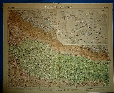 Vintage Circa 1959 MT. EVEREST INDIA PLAINS MAP Old Original Folio Size Free S&H
