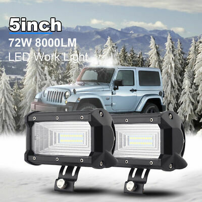 2x 5'' INCH 72W LED Work Light Bar 4WD Flood Beam Offroad Driving Fog Lamp ATV