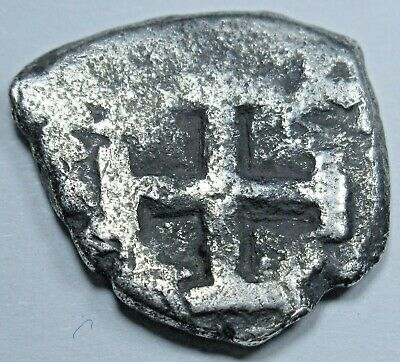 1700s Spanish Silver 1/2 Reales Piece of 8 Real Antique Pirate Cob Treasure Coin