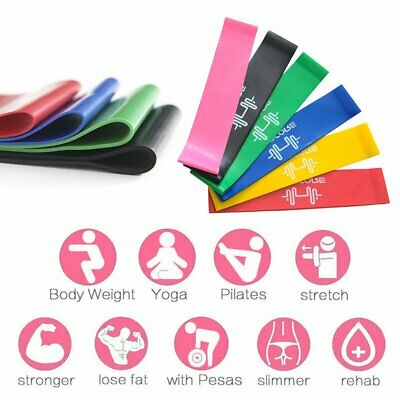 6Pcsset Resistance Loop Bands Mini Band Crossfit Strength Fitness Exercise GYM