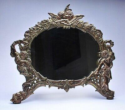 Antique National Bronze and Iron Works Gilded Iron Mirror with Putti, circa 1910