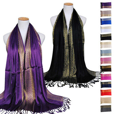 For Weddings Evenings Wear Large Solid Color Women Shawl Wrap Scarf Long Style
