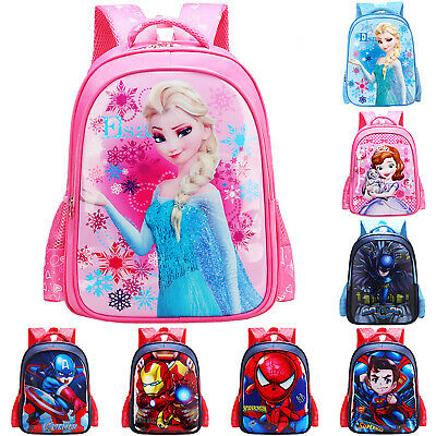 3D Movie Backpack Kid Boy Girl School Bag Frozen Spiderman Batman Print Rucksack