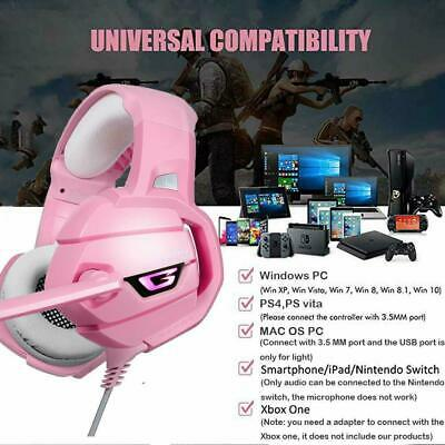 UK Pink Gaming Headset for PS4 Xbox One PC Laptop Noise Cancelling ONIKUMA K5