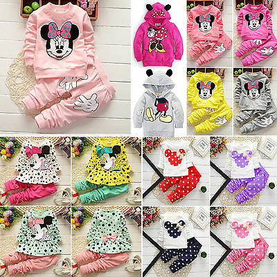 Kids Baby Girls Clothes Minnie Mouse Sweatshirt Top + Pants Tracksuit Outfit Set