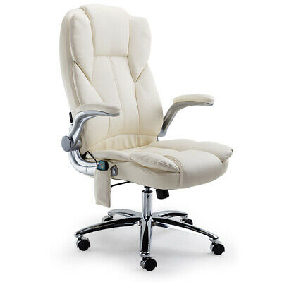 8 Point Massage Executive Office Computer Chair-PU Leather Remote - Beige