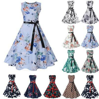 Womens Retro 60s Rockabilly Floral Print Hepburn Evening Party Flare Swing Dress