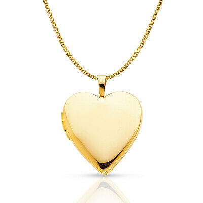 14K Yellow Gold Plain Heart Locket Pendant &1.5mm Flat Open Wheat Chain Necklace