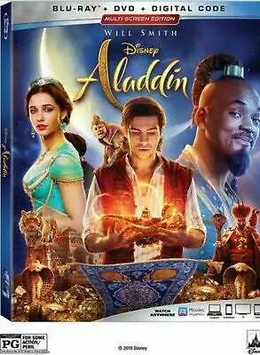 ALADDIN (2019 Live Action) (Blu-Ray + DVD + slip cover, No digital) Like New
