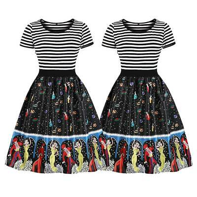 Womens Ladies Vintage Rockabilly Floral Striped Print Party Pleated Skater Dress