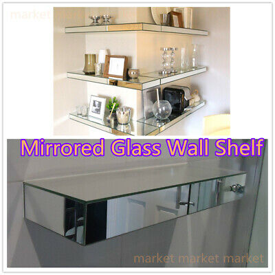 New Wall Mount Clear Beveled Mirrored Glass Floating Shelf Storage Display
