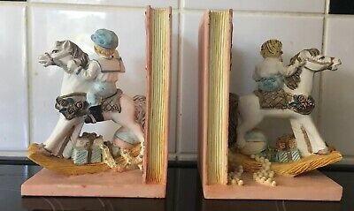 Rocking Horse with Children Bookends - Victorian Effect - Ceramic? - VGC