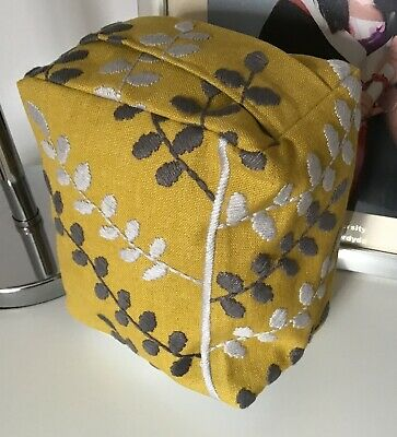 Mustard  Yellow & Grey Machine Embroidered Fabric Door Stop .... Unfilled