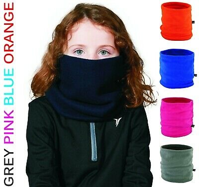 YOUTH Kids Boys Girls Winter Fleece NECK WARMER Tube School Scarf Snood Scarves