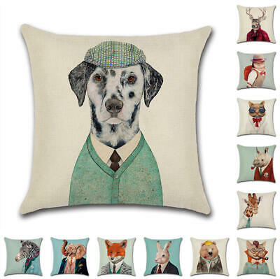 UK Animal Art Cushion Cover Pillow Case Cotton Flax Sofa Home Decor 18""