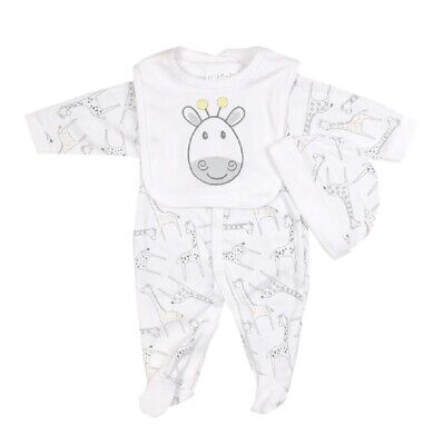 Baby Boys Girls Giraffe Clothing Layette Gift Set Neutral Sleepsuit Hat Bib NEW