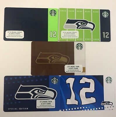 Starbucks Cards Lot of 5 ~ NEW ~ Seattle Seahawks ~ 2015, 2016, 2017, 2018, 2019