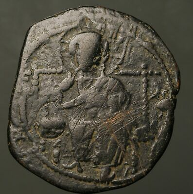 B31-01  BYZANTINE. Anonymous Æ Follis, Class D, 1042-1055AD, Jesus enthroned