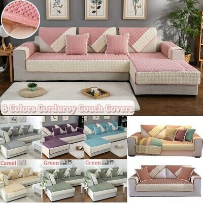 8Colors Couch Covers Corduroy L Shape Sofa Cover Multi-size Anti-Slip Slipcover