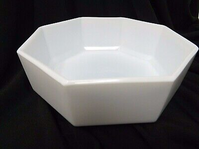 Arcopal White Glass Octagon Cereal Bowl France Arcoroc Octime A5