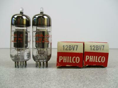 2 Philco 12BV7 Vacuum Tube Black Plate Halo Getters Matched Pair NOS NIB