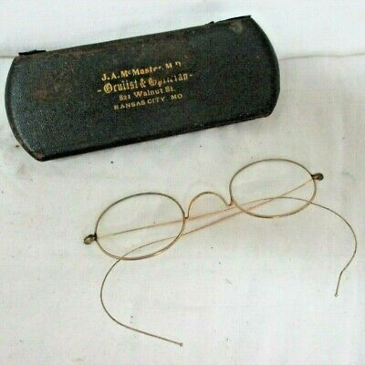 Antique 10k Yellow Gold Eyeglasses Spectacles With Case