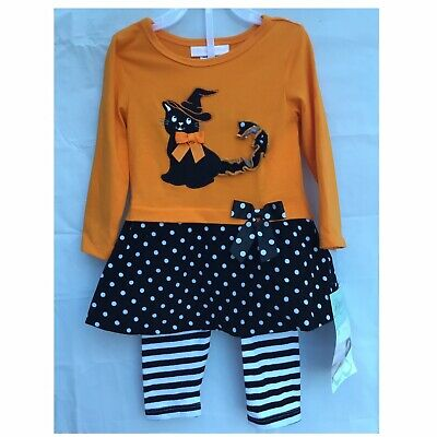 Bonnie Jean Girls Trick or Treat Ghost Halloween Orange Outfit 12M 18M 24M New