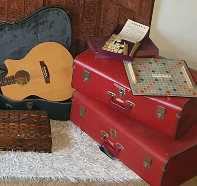 Large red vintage suitcases - matching pair