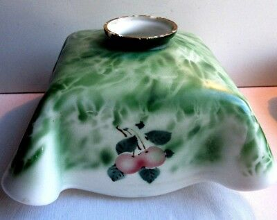 Fine opaline vintage lampshade, square shape, cherry decor and green foliage