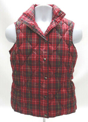 LANDS' END RED PLAID DOWN PUFFER VEST - WOMENS SIZE XS (2-4) in EUC
