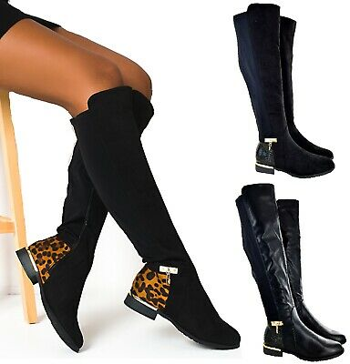 Ladies Womens Over The Knee High Stretch Calf Leg Zip Flat Low Heel Boots Size