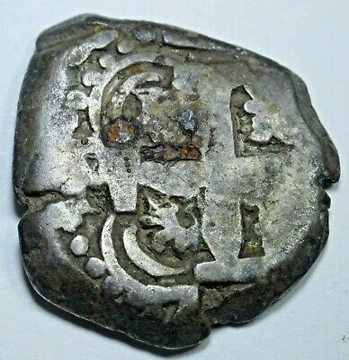 1762 Spanish Silver 2 Reales Piece of 8 Real Two Bits Pirate Treasure Cob Coin