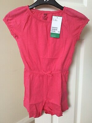 Girls H&M 4-6 Years Pink Jersey Playsuit BNWT