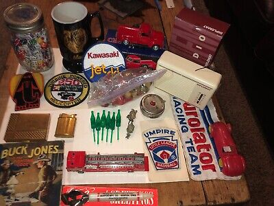 vintage junk drawer lot (25 Pcs Total) Mack/Buck Jones/Patches/Toys/Dice & More