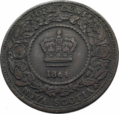 1864 NOVA SCOTIA British UK Queen Victoria Genuine Antique 1 Cent Coin i80315