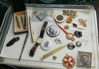 LOT Vintage Gold Filled Pencils Watch Military Medals Political Pins Sterling NR