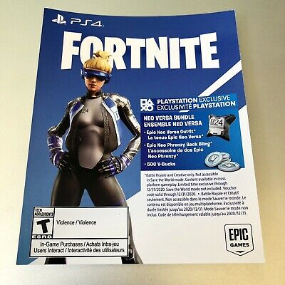 PS4 USA FORTNITE 500 V-Bucks NEO VERSA GIRL Outfit Cosmetic Skin DOWNLOAD-CARD