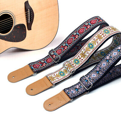 Embroidery Guitar Strap Electric Guitar Acoustic Folk Guitar Bass Strap NewONCH