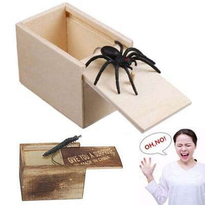 Funny Scare Box Gag Toys Trick Play Joke Prank Spider Scare Wooden Box For Gifts