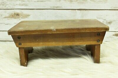 Antique Primitive Wood Milking Bench Foot Stool Wooden Farmhouse Rustic Decor