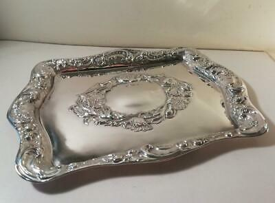 An Ornately Decorated Antique Silver Vanity Tray : Birmingham 1909