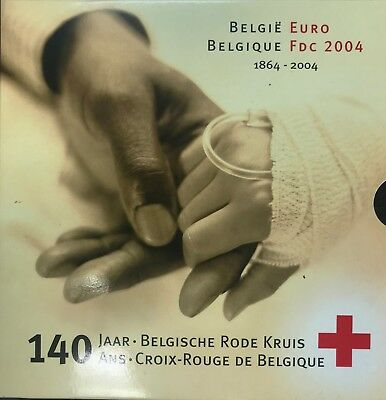 Boxset Official Belgium 2004 Bu - 8 Pieces Euros + 1 Med- 140 Years cross Red