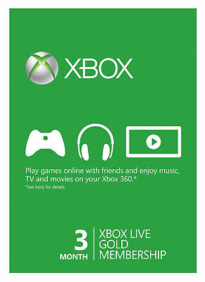Xbox Live 3 Month Gold Membership instant code 5mins to 24hr delivery