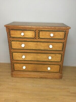 Victorian Pine Chest Of Drawers With Original Painted Decoration