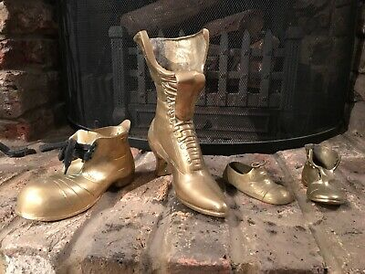Selection / Bundle Of Solid Brass Boot Shoe Heel Decorative Items - HEAVY