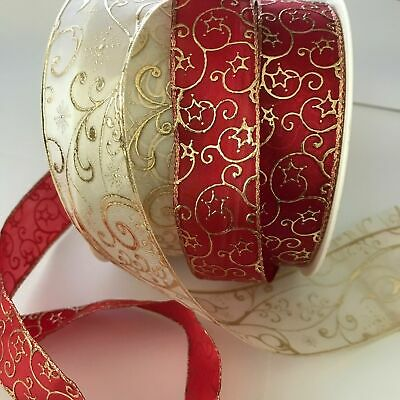 EMBOSSED RIBBON IVORY / GOLD x 1 ROLL / RED & GOLD x 1 ROLL CRAFT 20 METRES